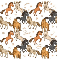Seamless pattern of cute horses frolicking in vector