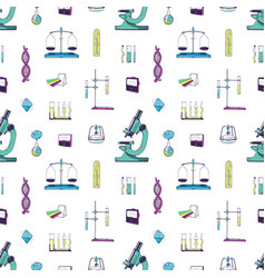 seamless pattern with chemistry and physics vector image