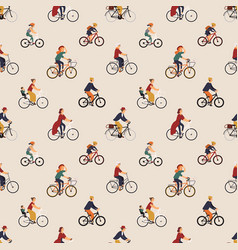 seamless pattern with old and young people riding vector image