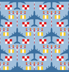 Seamless pattern with passenger airplanes strip vector