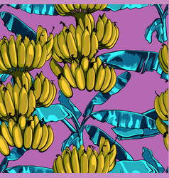 Seamless tropical pattern with banana leaves vector