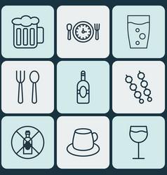 Set of 9 food icons includes hooch soda drink vector