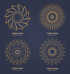 set of four vintage geometric circular elements vector image