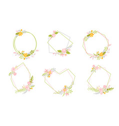 set of geometric spring wreath with flower flat vector image