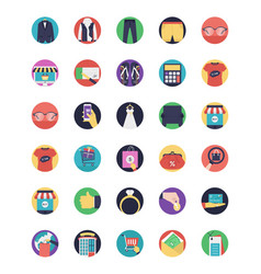 Set of shopping flat icons vector