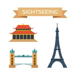 Sightseeing eiffel tower Paris London bridge vector