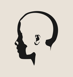 Silhouette of a female head face side view vector