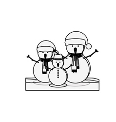 Silhouette set collection three snowman with hat vector