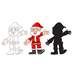 Sketches of Santa Claus in three different colours vector image