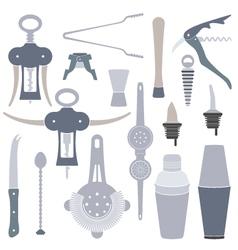 solid colors barmen equipment set vector image