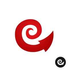 Spiral tribal element symbol with arrow head tail vector image