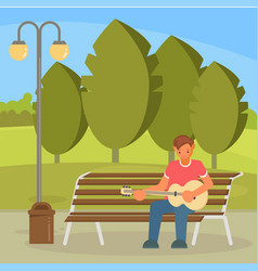 Street musician playing guitar flat vector