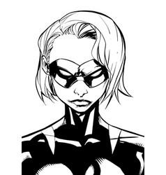 Superheroine portrait masked line art vector