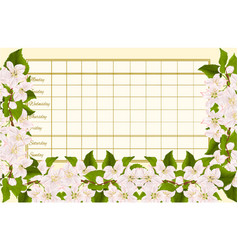 Timetable weekly schedule with twig of apple tree vector