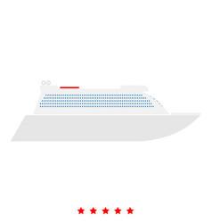 transatlantic cruise liner icon flat style vector image