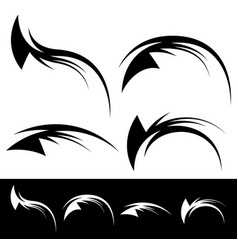 tribal like tattoo elements - dynamic swooshes vector image