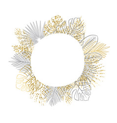 tropical leaves circle frame with blank space for vector image