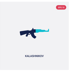 Two color kalashnikov icon from army and war vector