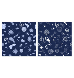 two seamless patterns with bacteria and viruses vector image