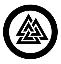 Valknut symbol icon in circle round black color vector
