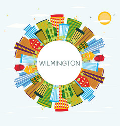 wilmington delaware city skyline with color vector image
