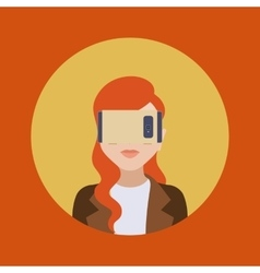 Women in the virtual reality headset vector image