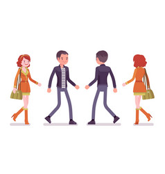 Young man and woman walking front rear view vector