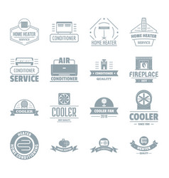 Heating cooling logo icons set simple style vector
