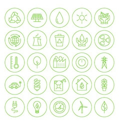 Line Circle Go Green Environment Icons Set vector image