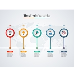 Timeline infographic template with 5 options vector image