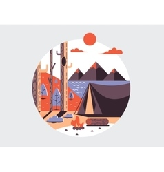 Camping flat round icon vector image vector image