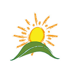 color paint sun with mountain icon vector image vector image