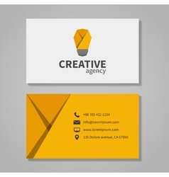 Creative agensy business card template with light vector image vector image