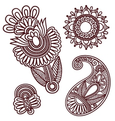 Flowers and Paisley Doodle Design Elements vector image