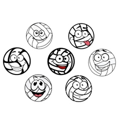 Funny cartoon white volleyball balls characters vector