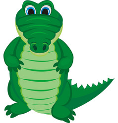 green funny crocodile with a long tail vector image