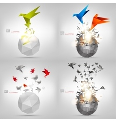 Origami paper bird on abstract background Carton vector image