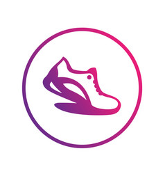 running icon logo element running shoe in circle vector image vector image