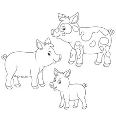 small piglet pig and hog vector image vector image
