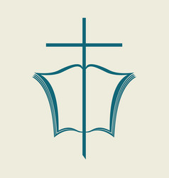 the open bible and the cross vector image vector image