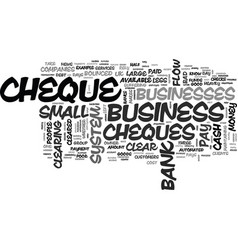 why bounced cheques mean bad business text word vector image vector image
