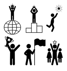 Win Leader People Flat Icons Pictogram Isolated on vector image