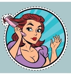 Comic young woman combing hair comb vector image