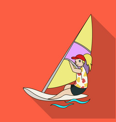 girl in swimsuit on a sailing boatthe athlete vector image