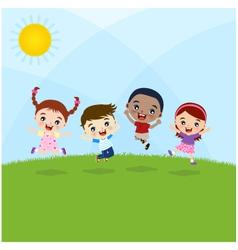 jumping kids vector image