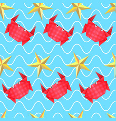 origami sea pattern vector image vector image