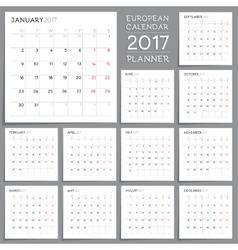 Calendar Planner Design Week starts from Monday vector image vector image