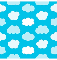 Flat design cute blue sky with clouds pattern vector image vector image