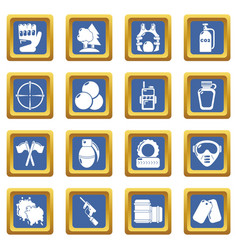 paintball icons set blue square vector image