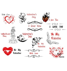 Valentines Day design elements with calligraphic vector image